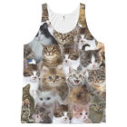 Kitty Cat Faces Pattern All-Over Print Singlet
