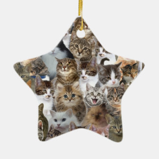 Kitty Cat Faces Pattern Ceramic Star Decoration