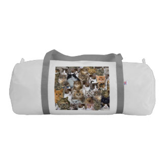 Kitty Cat Faces Pattern Gym Duffel Bag