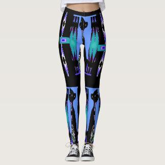 Kitty Cat Fashion Leggings 4 Women - Blue/Black