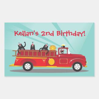 Kitty Cat Firetruck Birthday Party Stickers