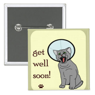 Kitty Cat Get Well Soon Button