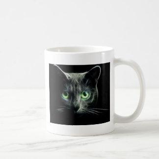 Kitty cat glowing green eyes coffee mug