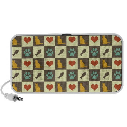Kitty cat heart fish checkered pattern pet lover iPod speakers