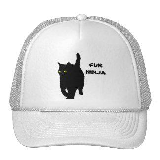 Kitty Cat is Fur Ninja (yellow eyes) Cap