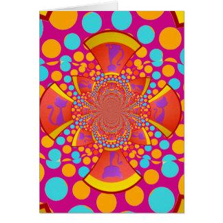 Kitty Cat Kaleidoscope Pink Teal Polka Dots Card