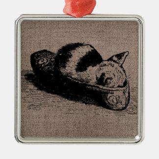 Kitty Cat Kitten Slipper Black Square Ornament