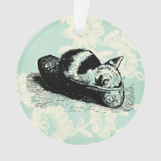 Kitty Cat Kitten Slipper Mint Lace Circle Ornament