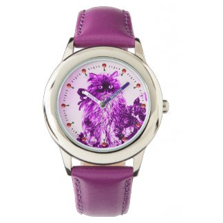 KITTY CAT / KITTEN WITH PURPLE ROSES White Watches