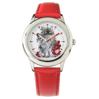 KITTY CAT / KITTEN WITH RED ROSES Black White Watches
