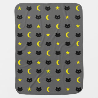 Kitty Cat Moon And Stars Baby Blanket
