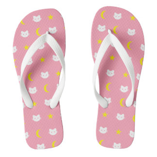 kitty Cat Moon And Stars Flip Flops