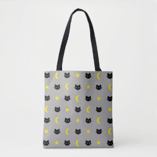 Kitty Cat Moon And Stars Tote Bag
