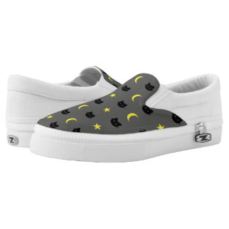 Kitty Cat Moon And Stars Zipz Slip On Shoes