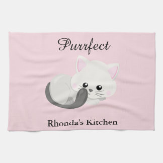 Kitty Cat Pink Tea Towel