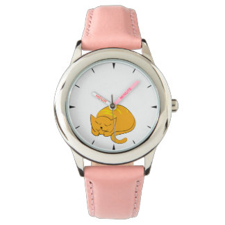 Kitty Cat Sleeping Cartoon Watch