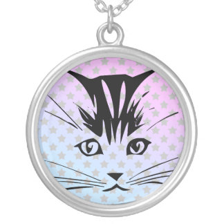 Kitty Cat Sweet Face Sterling Silver Necklace