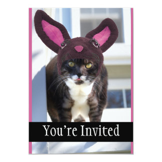 Kitty Cat Wearing Bunny Ears 13 Cm X 18 Cm Invitation Card