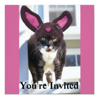 Kitty Cat Wearing Bunny Ears 13 Cm X 13 Cm Square Invitation Card