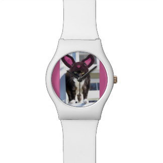 Kitty Cat Wearing Bunny Ears Wristwatch