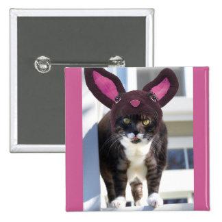 Kitty Cat Wearing Bunny Ears Pinback Button