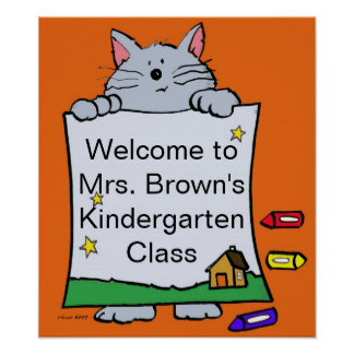 Kitty Cat Welcome/Personalize/by Vera Trembach Poster