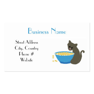 Kitty Cat with Blue Food Dish Business Card Templates