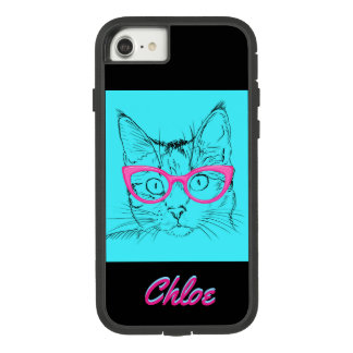 Kitty Cat With Glasses Name Blue Pink iPhone Case