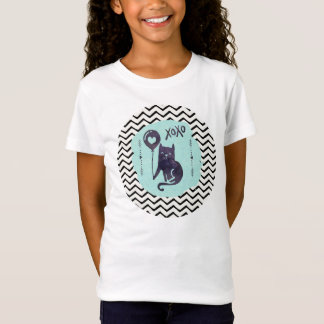 Kitty Cat Xoxo Girly Watercolor Chevron Zigzag T-Shirt