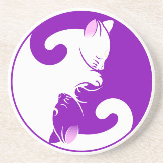 Kitty Cat Yin Yang | Purple Coaster