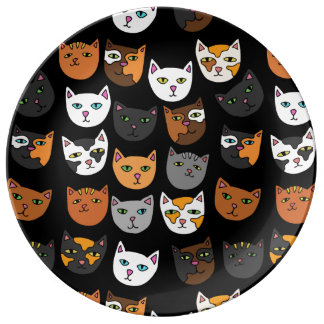 Kitty Cats everywhere pattern Porcelain Plates