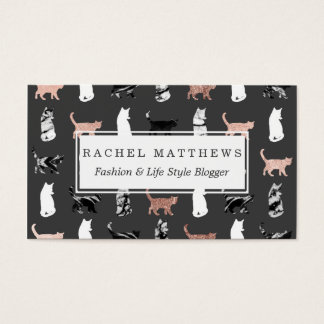 Kitty Cats in Rose Gold and Black and White Marble Business Card