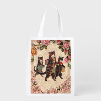 Kitty Cats Pretty Vintage Reusable Grocery Bag