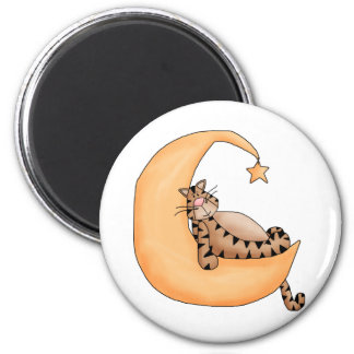Kitty Cats · Tabby Cat in the Moon Magnet