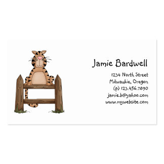 Kitty Cats · Tabby Cat on Fence Business Card Template
