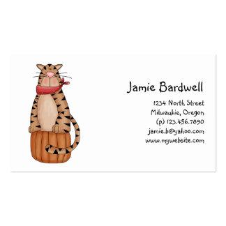 Kitty Cats · Tabby Cat on Pumpkin Business Card
