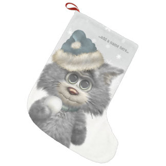Kitty Cats Winter Wonderland Personalized Small Christmas Stocking