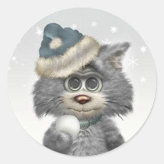Kitty Cats Winter Wonderland Round Sticker