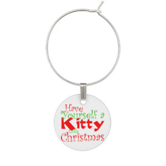 Kitty Christmas Holiday Wine Charm