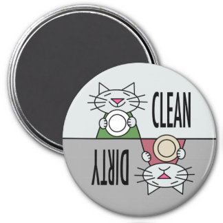 Kitty dishwasher clean dirty in grey magnet