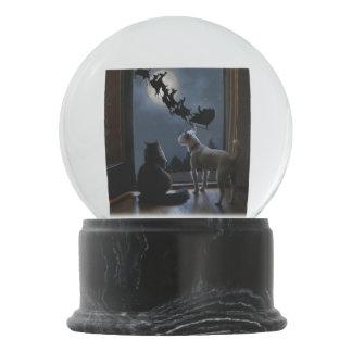 Kitty, Dog and Santa Christmas Snow Globe