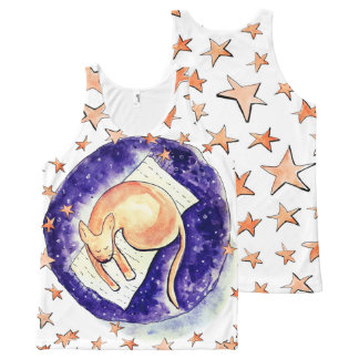 Kitty Dreaming Amongst the Moon and Stars All-Over Print Singlet