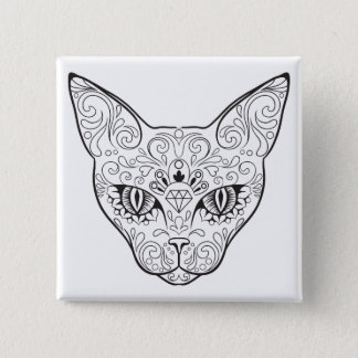 Kitty Face Sugar Skull | Day of the Dead Cat 15 Cm Square Badge