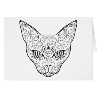 Kitty Face Sugar Skull | Day of the Dead Cat Card