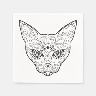 Kitty Face Sugar Skull | Day of the Dead Cat Disposable Napkins