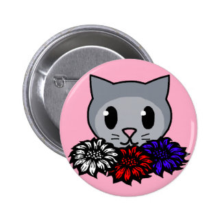 Kitty Flowers for Kids Pin