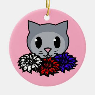 Kitty Flowers for Kids Christmas Tree Ornament