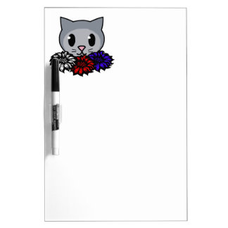 Kitty & Flowers for Kids Dry-Erase Whiteboards