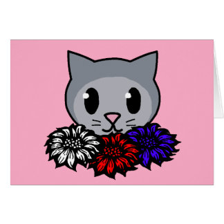 Kitty & Flowers for Kids Greeting Card