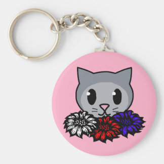 Kitty & Flowers for Kids Key Chains